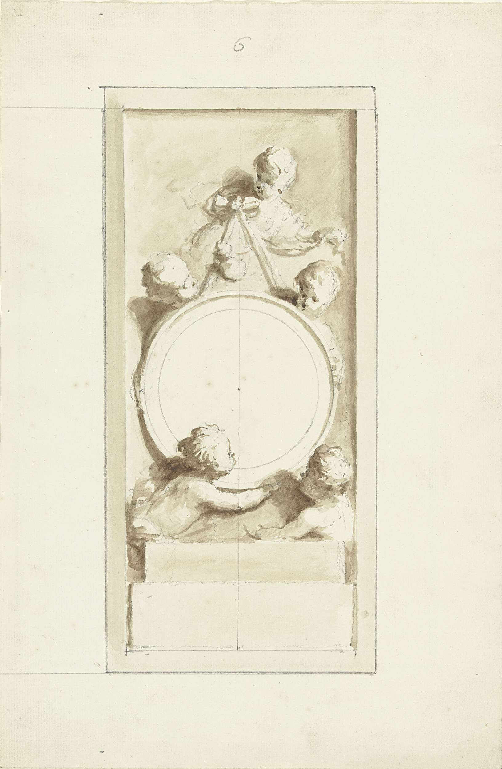 Dionys van Nijmegen | Putti rond een medaillon, Dionys van Nijmegen, 1715 - 1798 | Ontwerp voor een schildering.