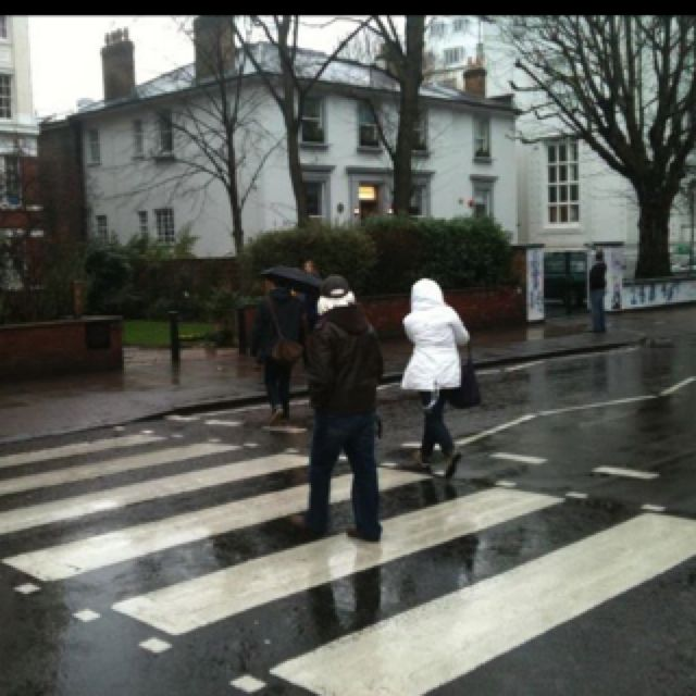 Abbey Road in London England (the famous crosswalk where the Beatles shot their album cover with the same name and the white building in the back is the famous Abbey Road Studios)