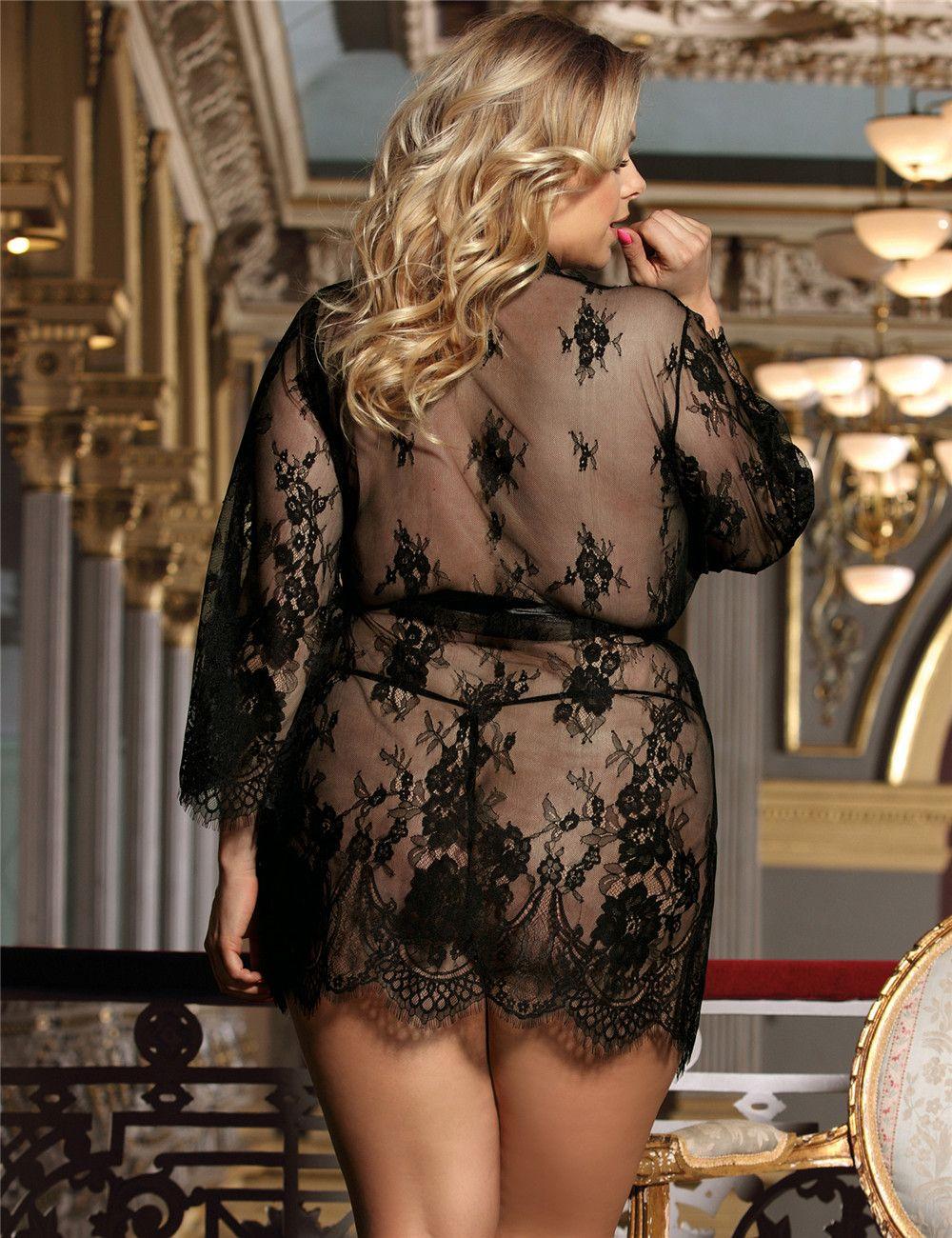 Plus Size Lingerie Sexy Robe Sleepwear (Black) - XL  3XL  5XL ... 4af6a9c67