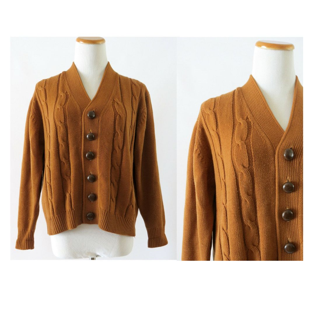Pumpkin Spice Sweater Brown Cardigan Vintage 70s Sweater Button Up ...
