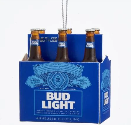 Bud Light 6pk Bottle Ornament In 2020 Bud Light Beer Miniature Christmas How To Make Ornaments