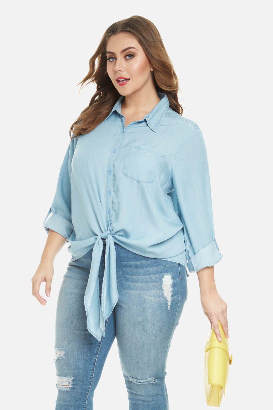 5e72c4c7540c01 Plus Size Maddie Tie Front Denim Shirt   CLOTHES. <3   Fashion ...