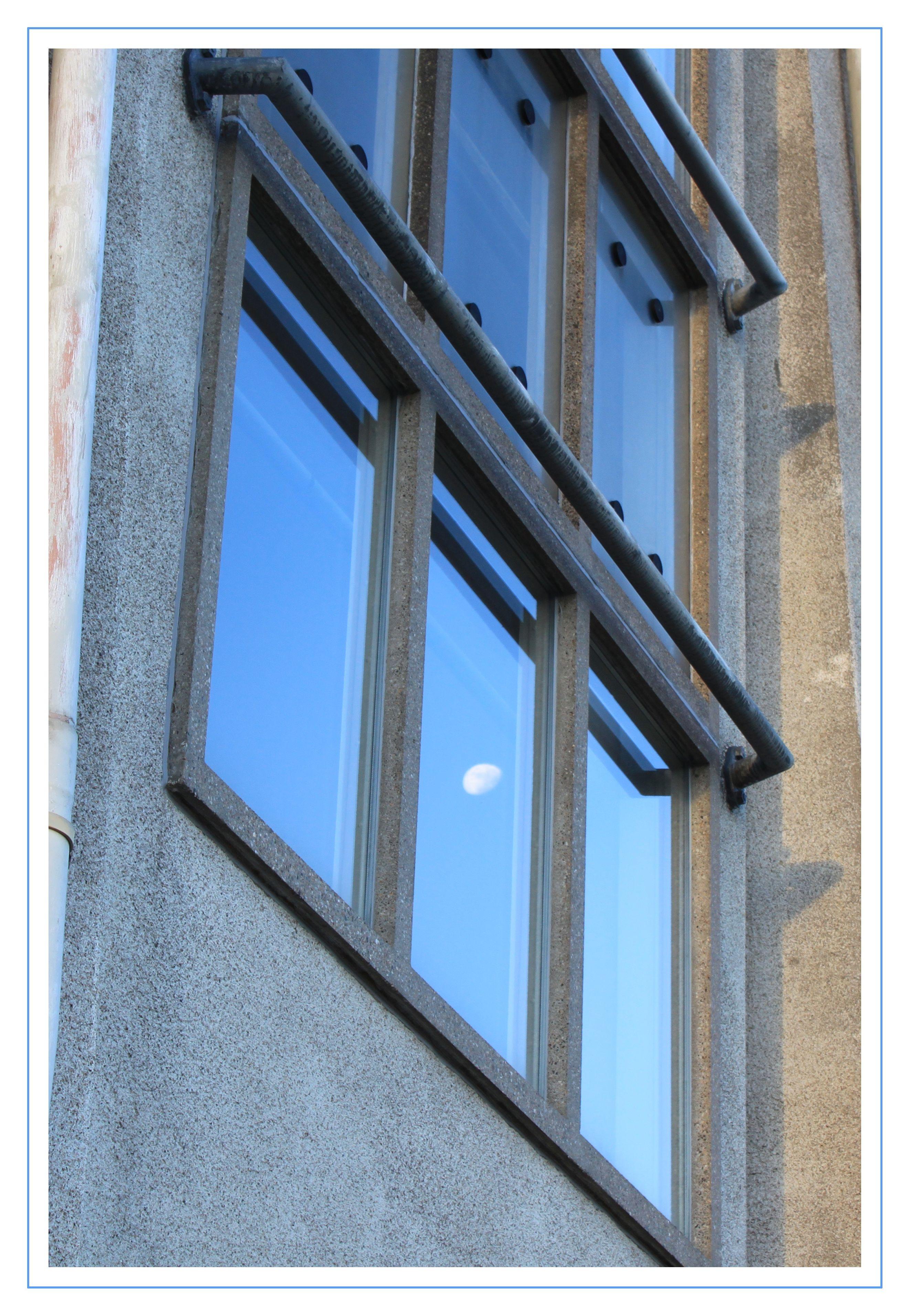 The Moon Is Reflecting In A Window Of The Building Of Radio Kootwijk De Maan Weerspiegelt In Een Van De Ramen Van Radio Interesting Buildings Building Windows