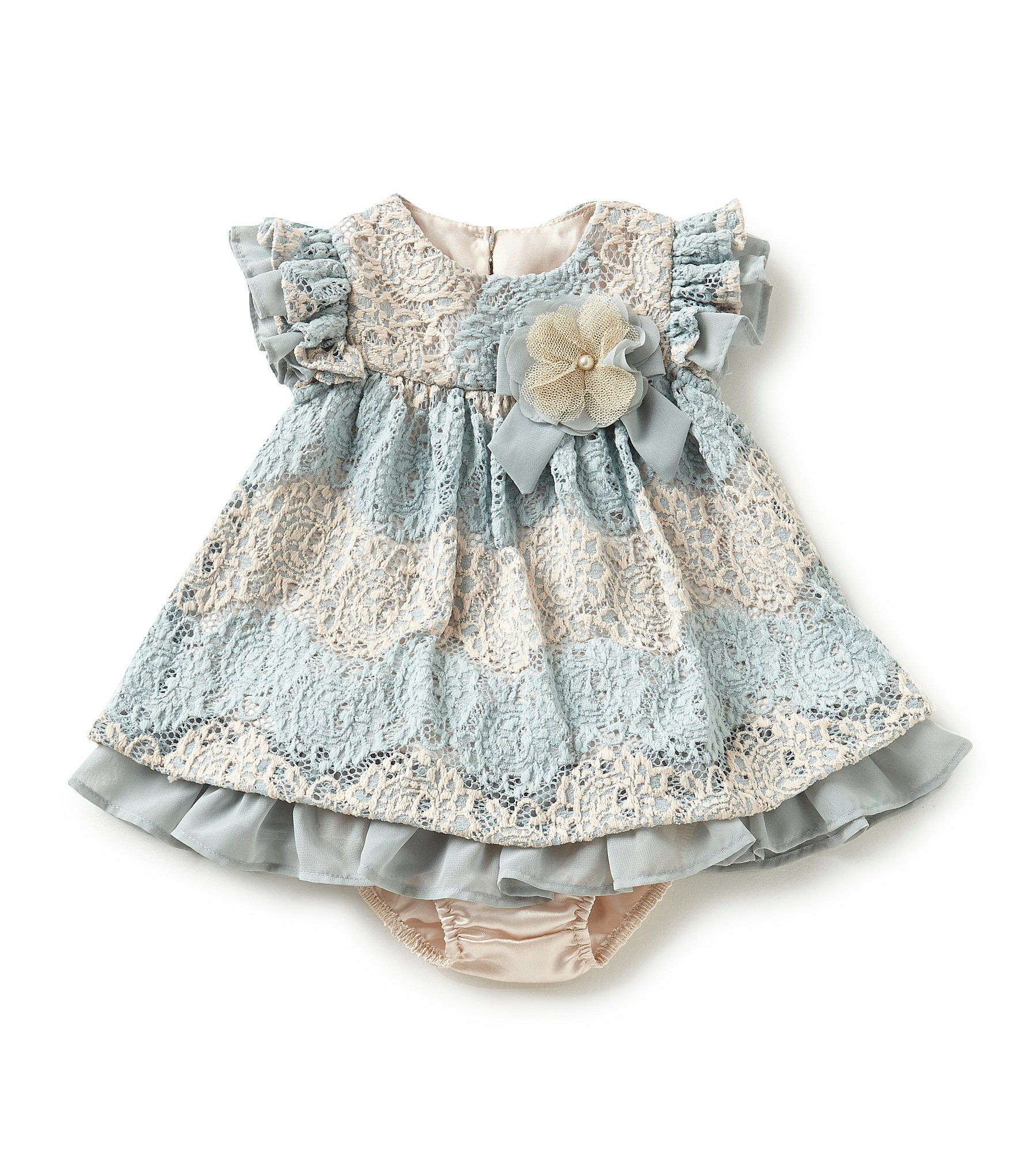Shop for Bonnie Baby Baby Girls Newborn 24 Months Two Tone Lace
