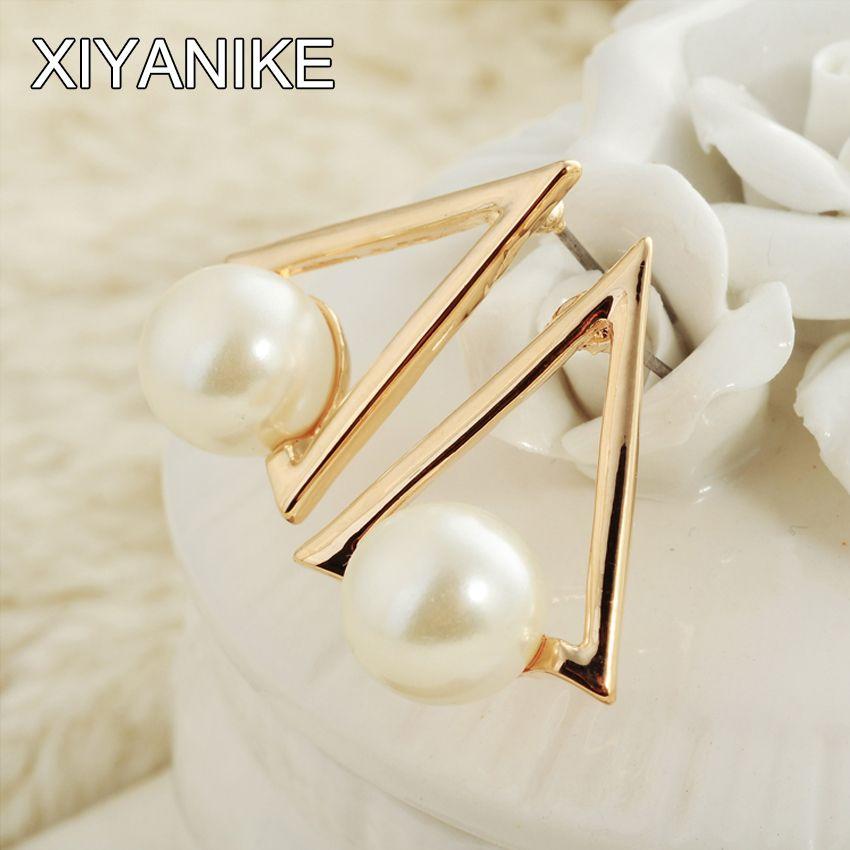 뜨거운 판매 한국어 패션 간단한 독특한 창조적 인 기질 진주 삼각형 귀걸이 액세서리 도매 XY-E986