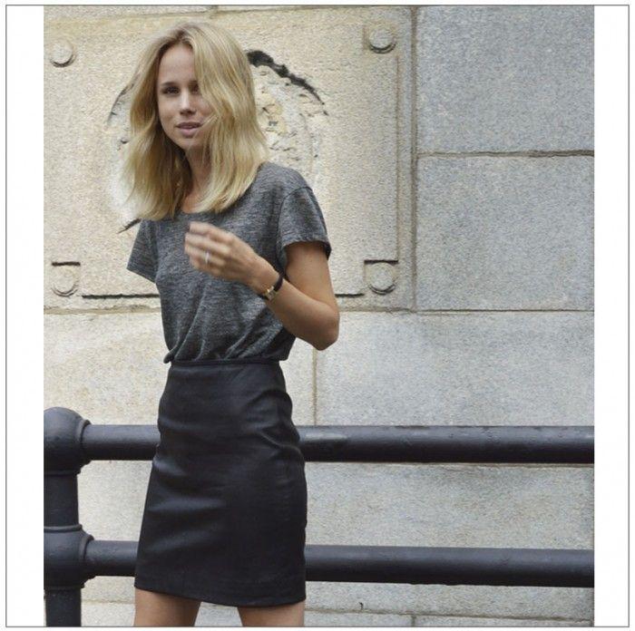 Geliefde vind leren rokje - combineren met AA t-shirt en kettinkje, zwarte &XW55