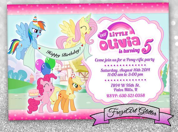 My Little Pony Birthday Party Invitation Birthday Card