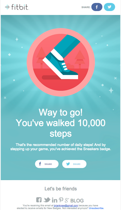 badge congratulations email inspiration from fitbit developer
