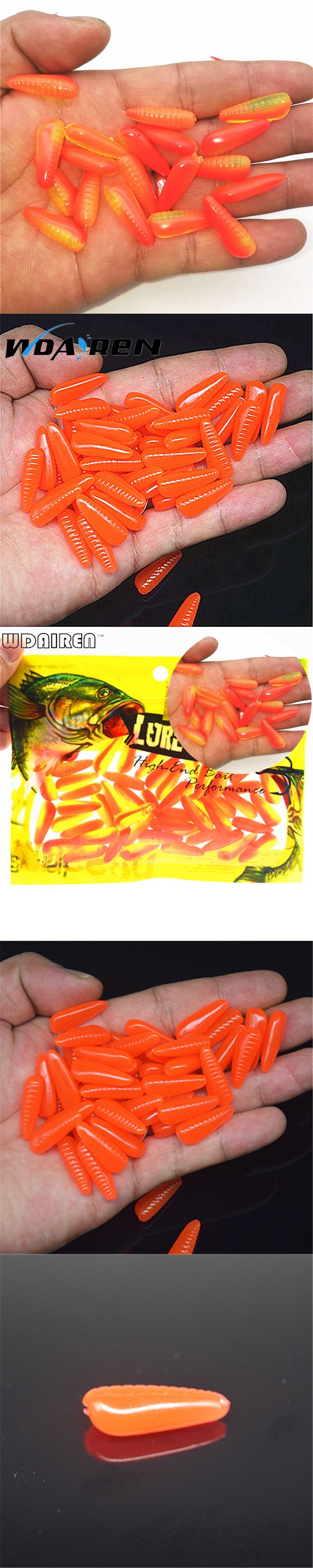 50Pcs/Lot 0.7grams 2.5cm plastic lures Artificial Fishing red worms ...
