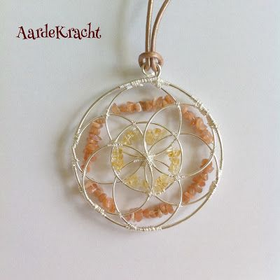 AardeKracht: Silver Flower of Life pendant with citrine and sunstone