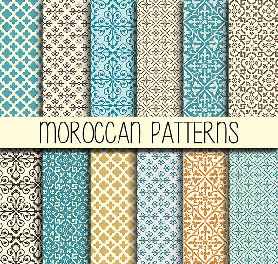 Moroccan tiles arabic patterns instant download set - Marokkanische fliesen aufkleber ...