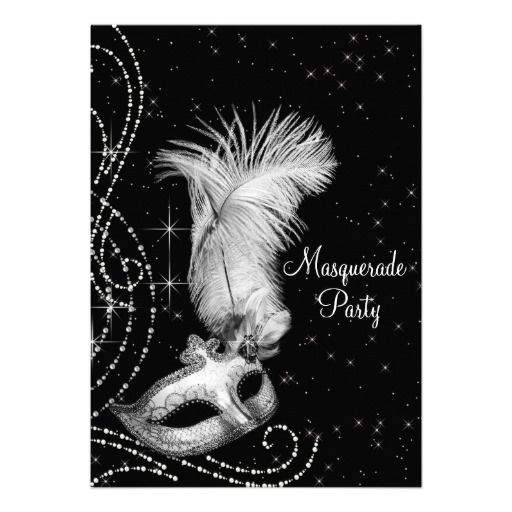 Elegant Black White Masquerade Party Invitation