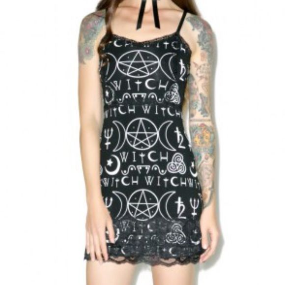 Rat Baby What A Witch dress NWT Soft Stretchy material, goth / Rock hot topic style dress. NOT purchased from Hot Topic. Skulls black summer gothic cross moons star Rat Baby  Dresses Mini