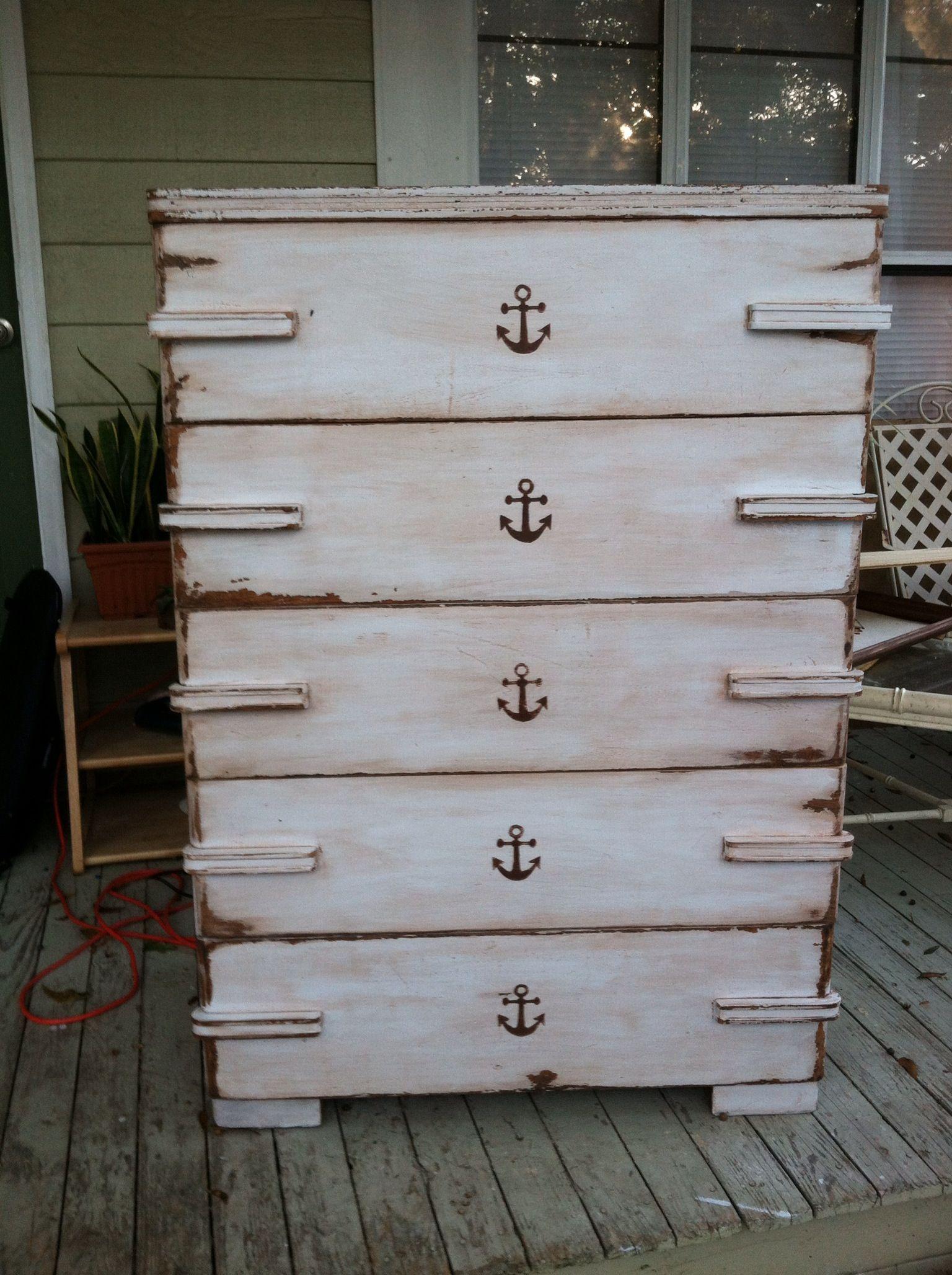 Distressed Anchor Dresser