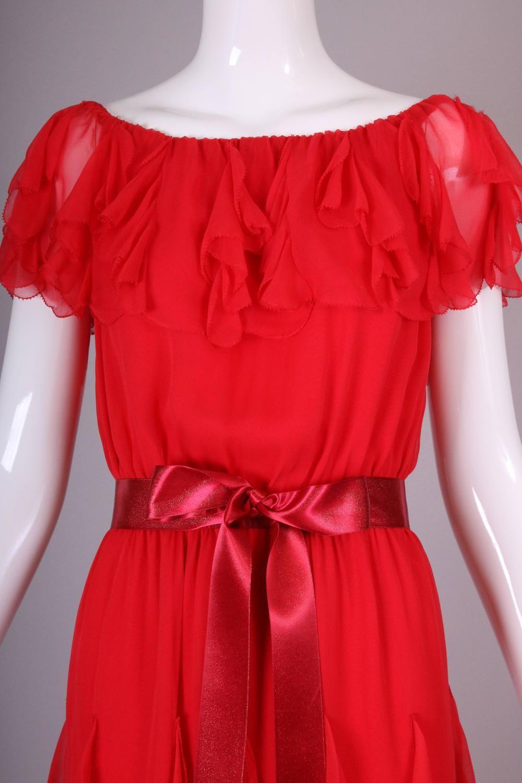 476db56b7d24 Vintage Yves Saint Laurent YSL Red Silk Chiffon Ruffled Evening Gown Dress 5