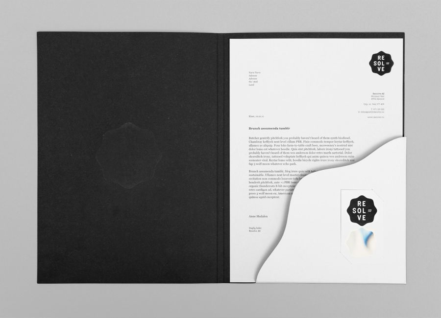 Logo, folder and business cards designed by Neue for cleaning and restoration service provider Resolve
