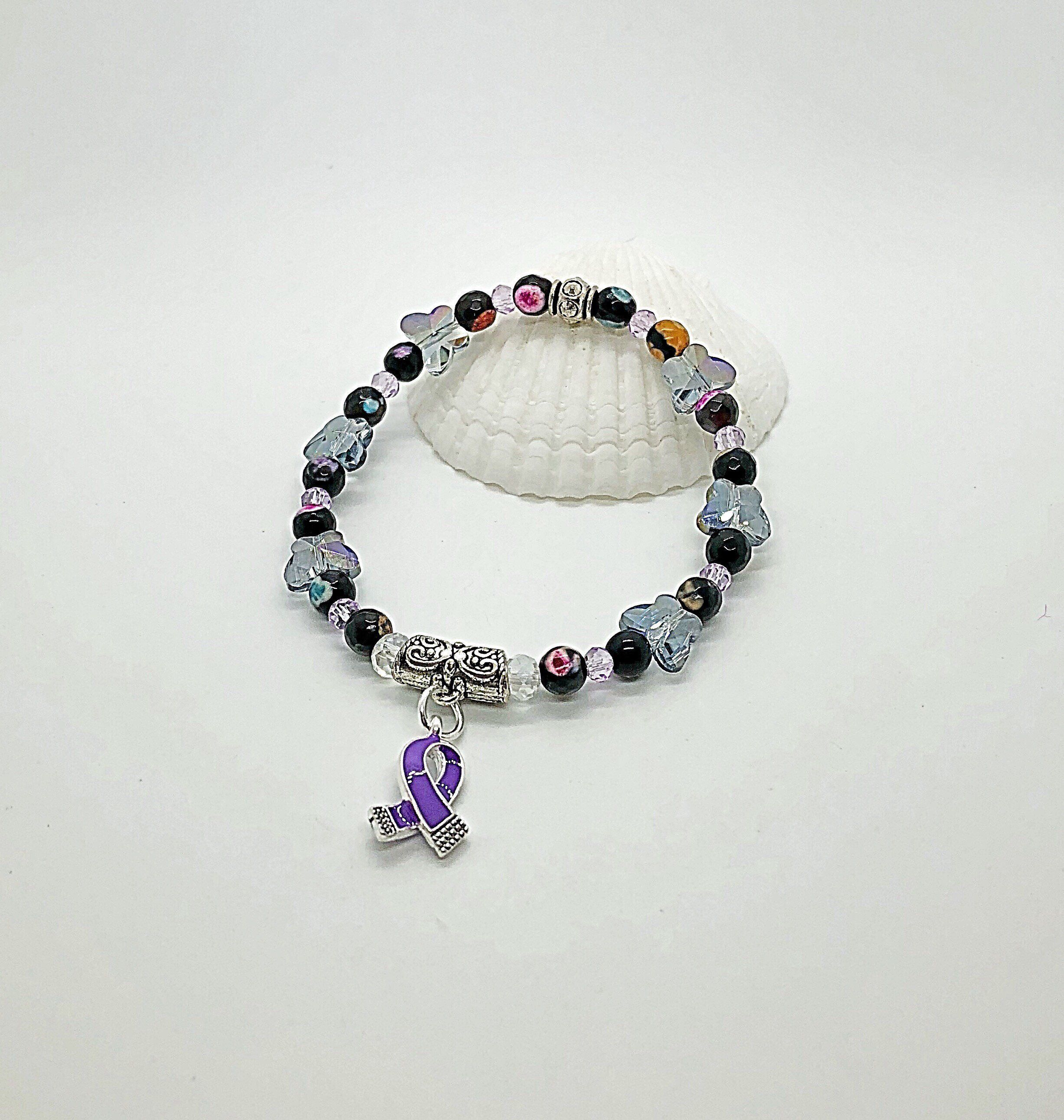 Excited To Share This Item From My Etsy Purple Awareness Ribbon Bracelet Jewelry Lupus Fibro