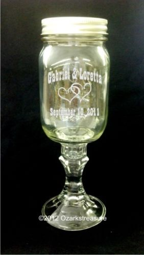 Wedding Hillbilly Wine Glass Mason Jar Pair w/Hearts - Laser Engraved - CUSTOM!