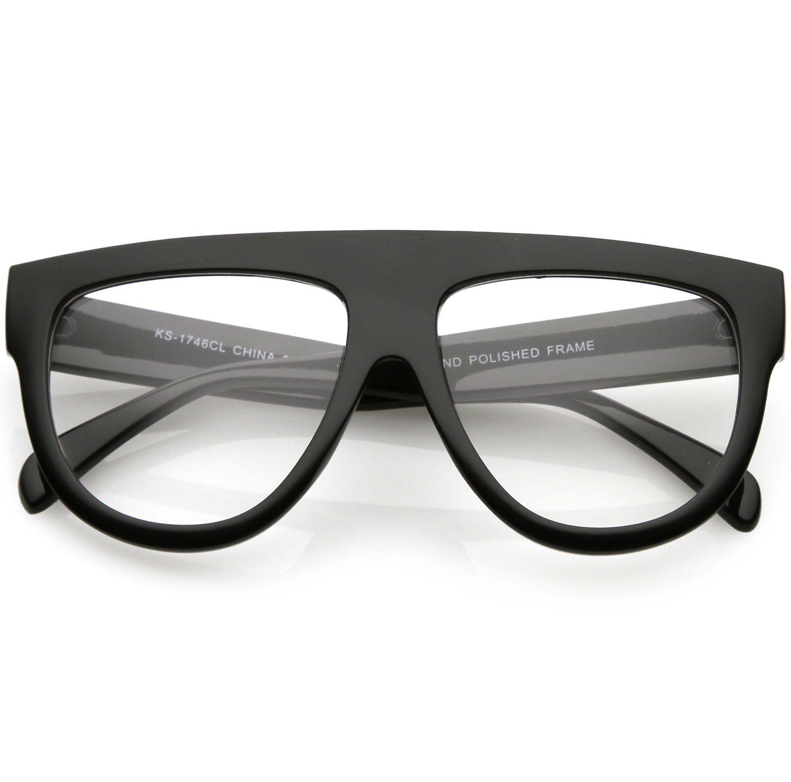 58eb2b042c9 Oversize Flat Top Aviator Eyeglasses Horn Rimmed Details Wide Arms Clear Lens  56mm