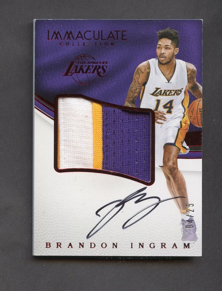 52bc7989eed 2016-17 Immaculate Red Premium Brandon Ingram RPA RC 3-Color Patch AUTO  25   BasketballCards