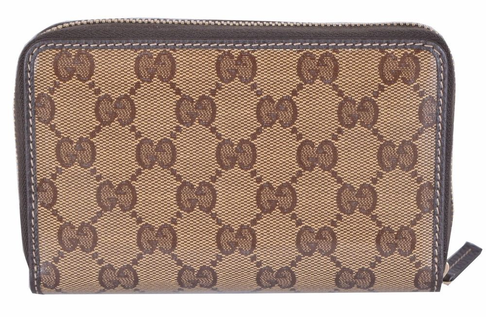 577a579d7ec New Gucci Crystal Line Shiny Coated Canvas GG Guccissima Zip Around Wallet…