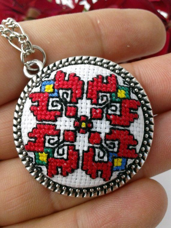 Bulgaria jewelry cross stitch embroidery, Traditional Bulgaria folk art embroidery, Everyday locket tribal embroidery necklace for woman