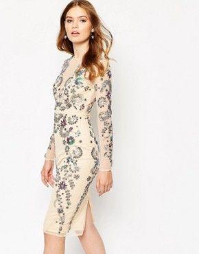 c368d6a420e06 ASOS Ergonomic 3D Floral Beaded Mesh Midi Dress | bridesmaids | Midi ...