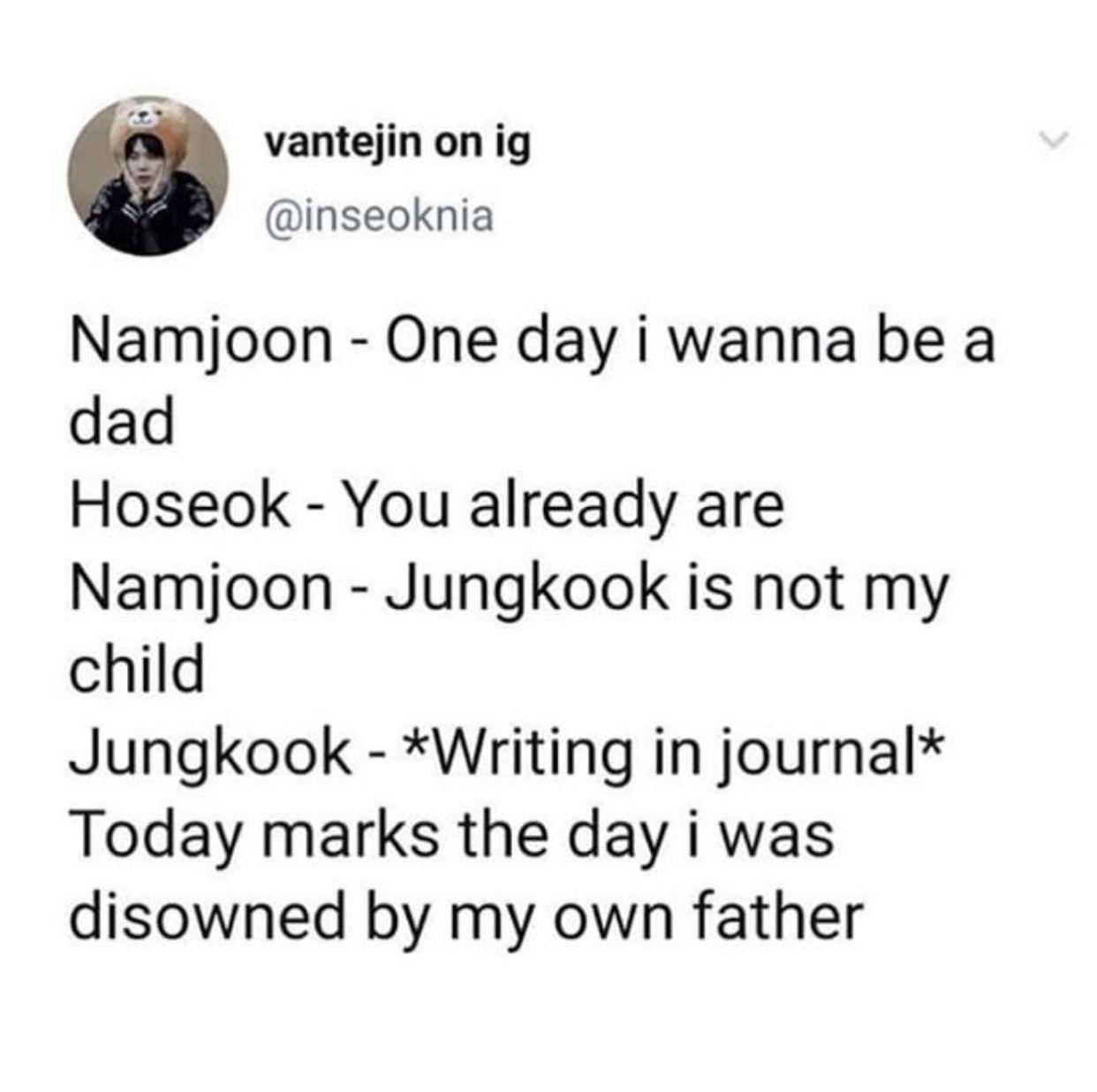 Photo of Namjoon disowns his 'son' Jungkook