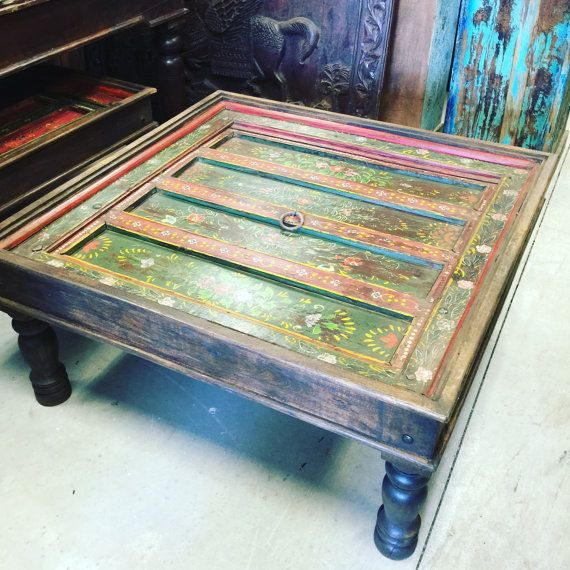 antique jaipur coffee table red green floral handmogulgallery