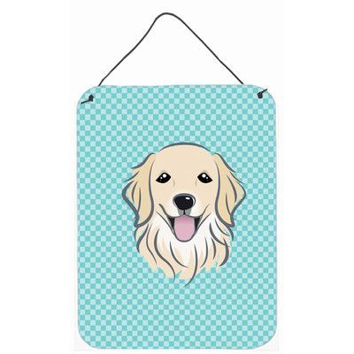 Caroline's Treasures Checkerboard Blue Golden Retriever Hanging by Denny Knight Graphic Art Plaque Size: