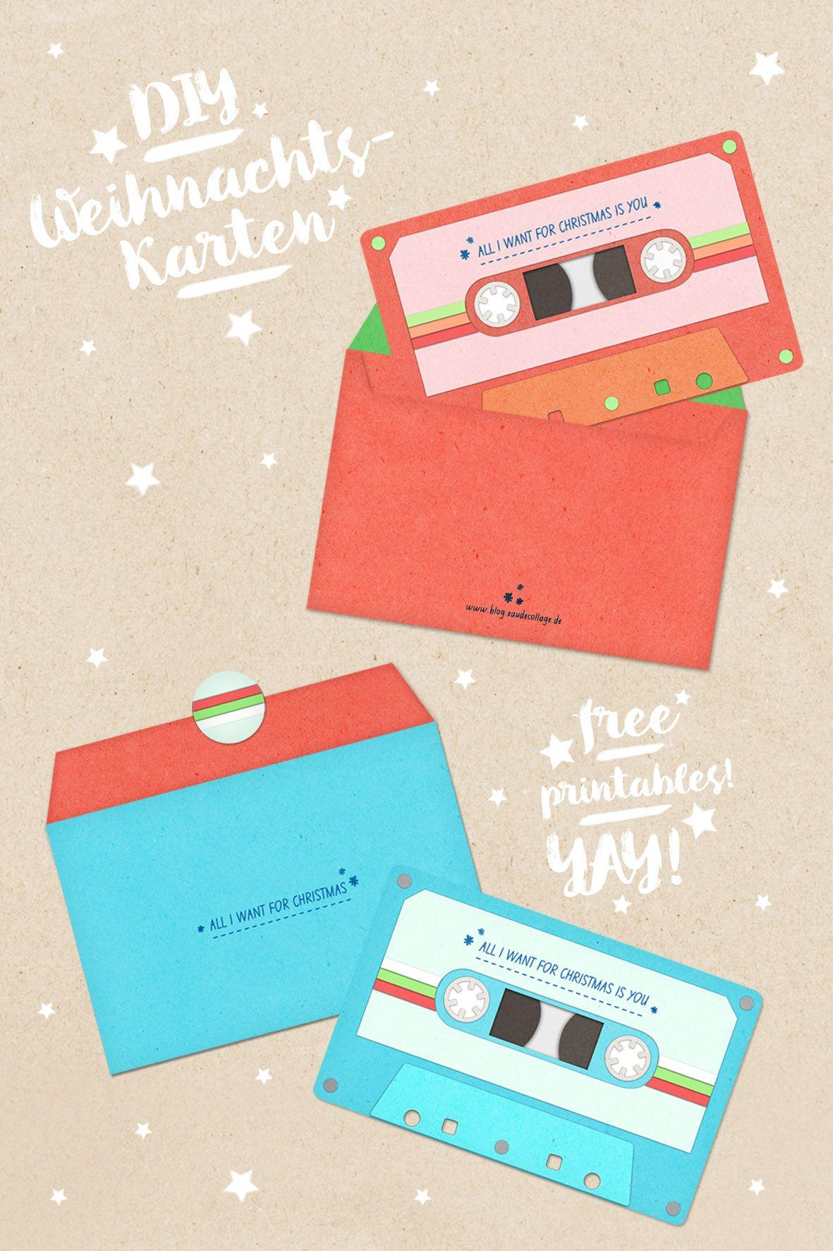 Astounding Weihnachtskarten Selbst Basteln Dekoration Von Diy Weihnachtskarte Retro-kassette *free Printable