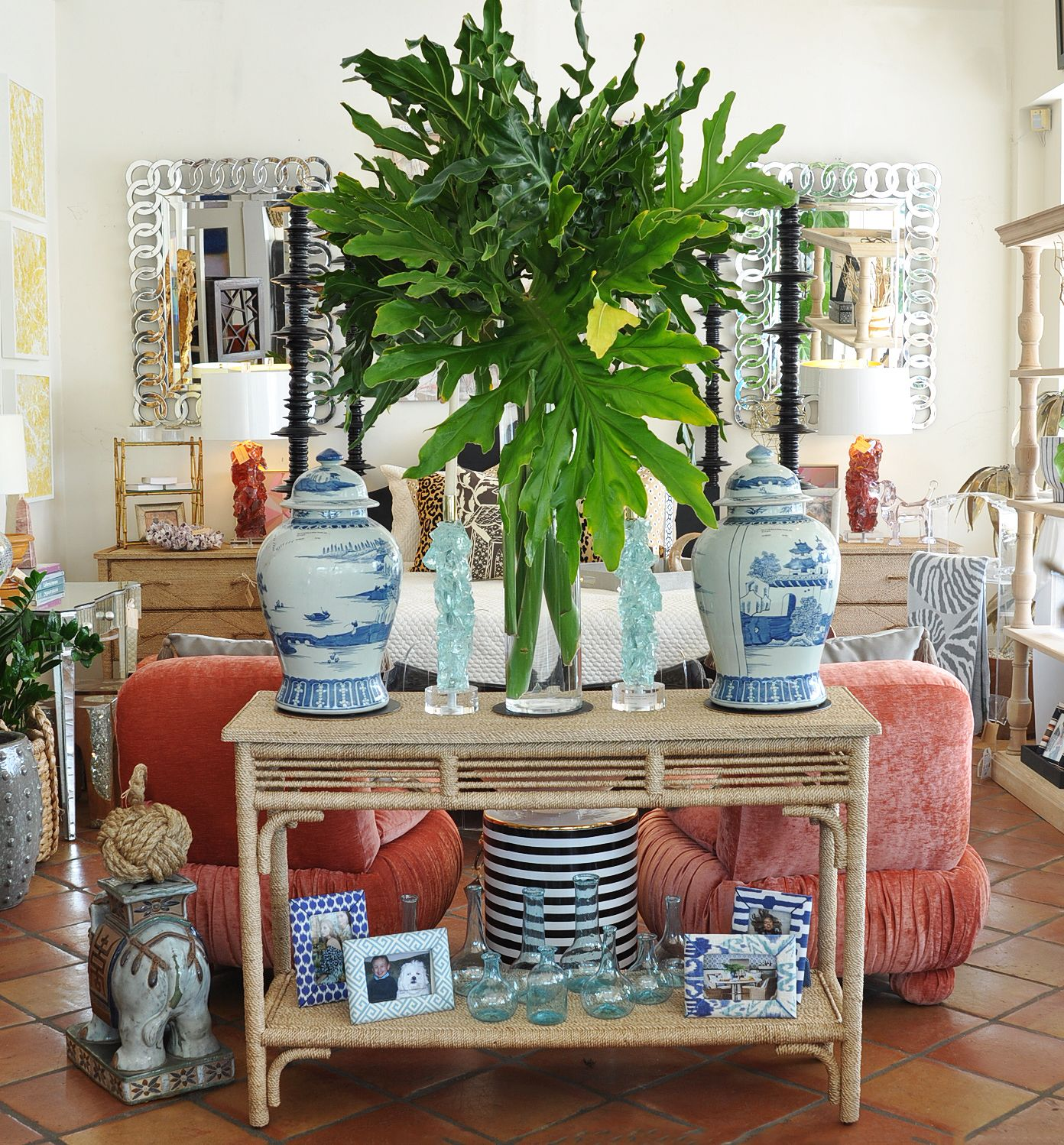 Ginger jars and striped accessories at Mecox Palm Beach #interiordesign #home #decor #design #MecoxGardens