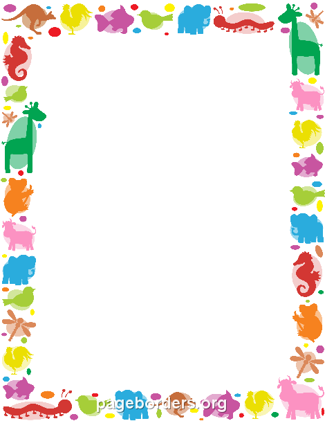 Printable animal border. Use the border in Microsoft Word or other programs for creating flyers, invitations, and other printables. Free GIF, JPG, PDF, and PNG downloads at http://pageborders.org/download/animal-border/
