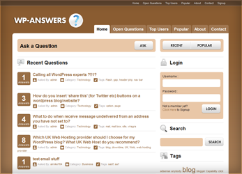 Wordpress Yahoo Answers clone themes that allow you to build