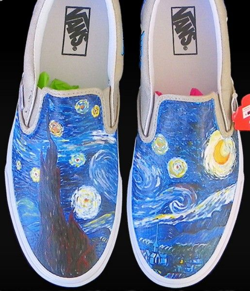 82869d2917e Vincent Van  Gogh Custom Painted Slip-on Painted Canvas Shoes