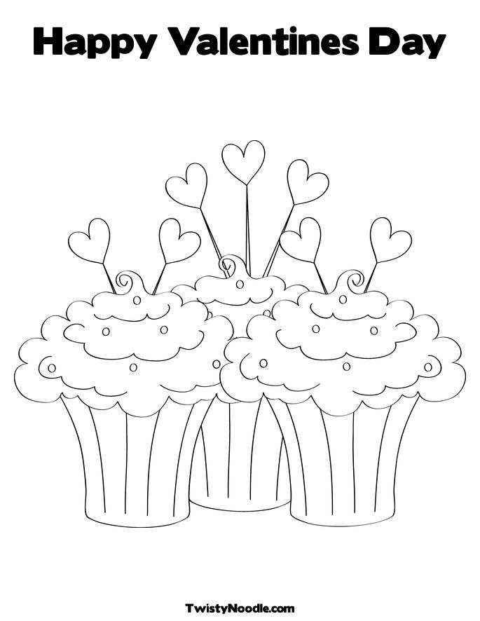 Valentine Cupcakes Valentines Day Coloring Page Happy Birthday