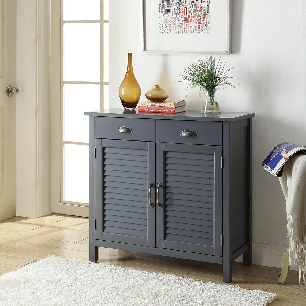 Usl Olivia 2 Drawers Grey Accent Cabinet 2 Shutter Doors Sk19087d5 Gy The Home Depot In 2020 Accent Cabinet Wood Shutters Wood Cabinets