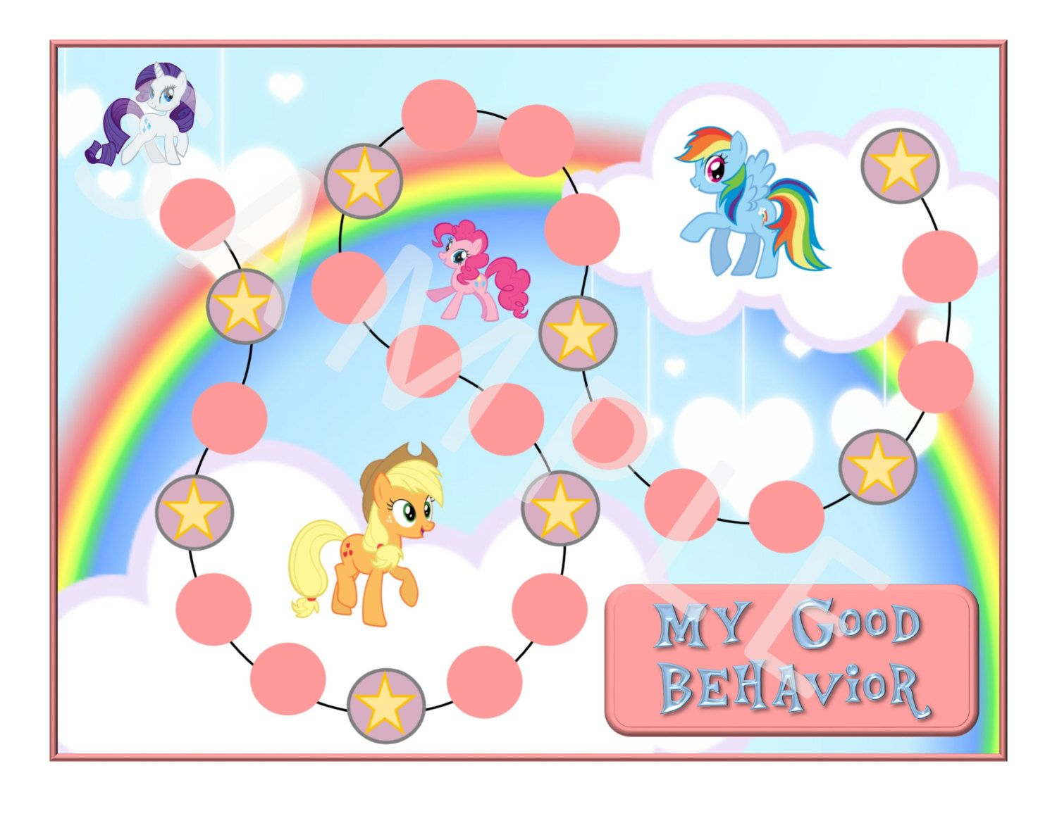 My little pony printable behavior chart by dunnwiththree on etsy