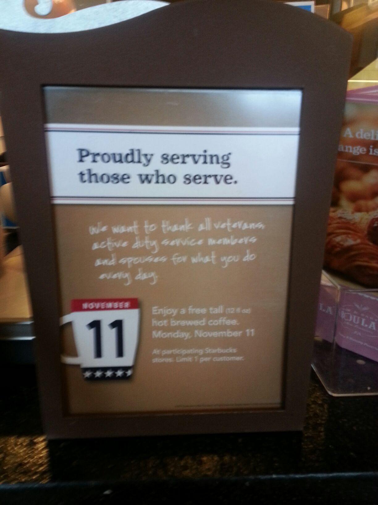 Free Tall Coffee at Starbucks for Veterans on Veteran's