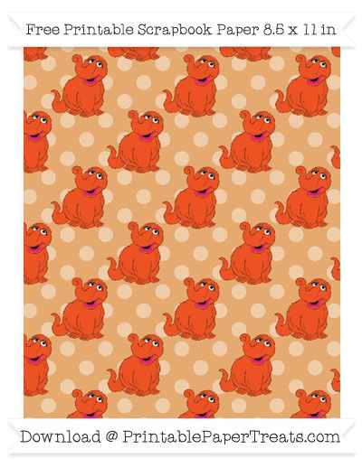 Free Fawn Polka Dot Large Snuffy Pattern Paper - Sesame Street