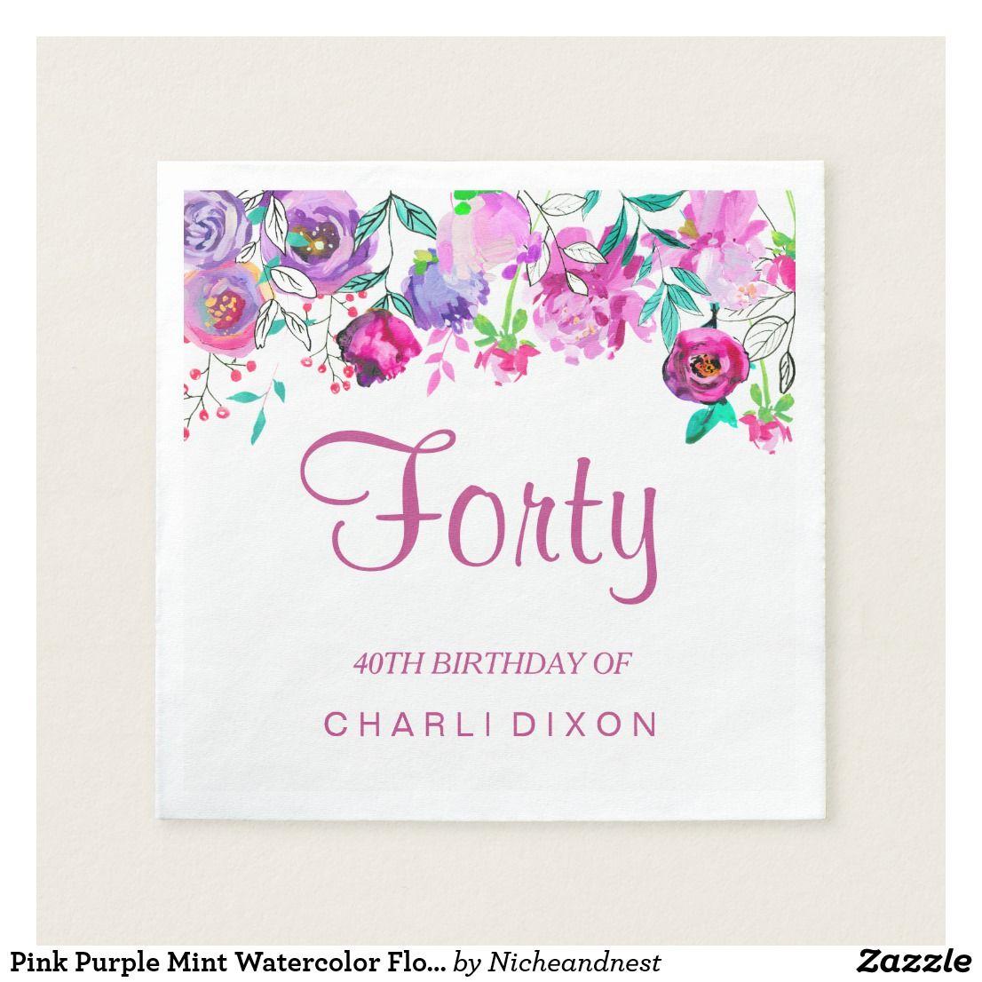 Pink Purple Mint Watercolor Flowers 40th Birthday Paper Napkin