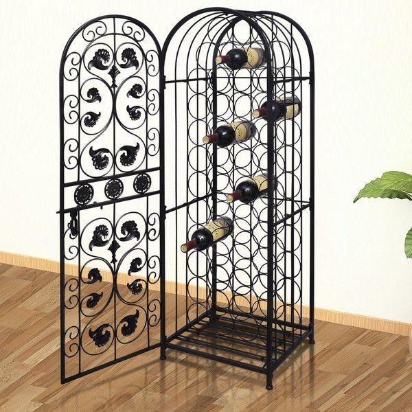 vidaXL Wine Rack for 45 Bottles Metal Stand Display Cabinet Unit Organiser