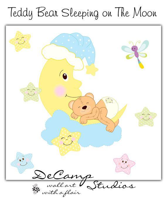 Sleeping Teddy Bear Wall Mural Decal for baby boy or girl nursery. A ...