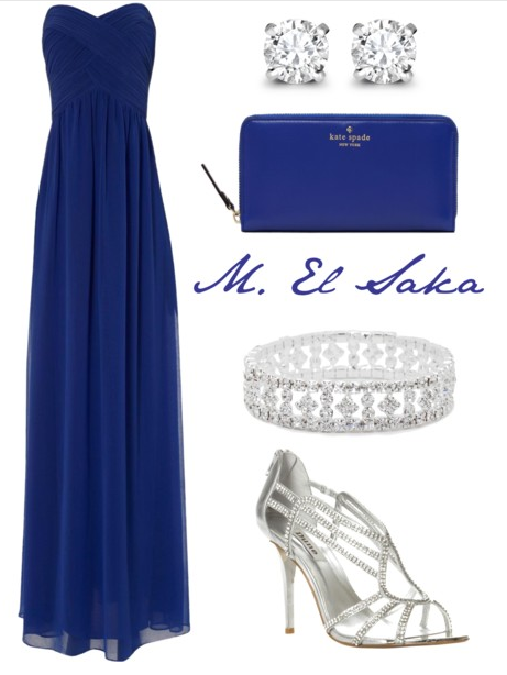 navy blue gown & accessories. All would be perfect for the
