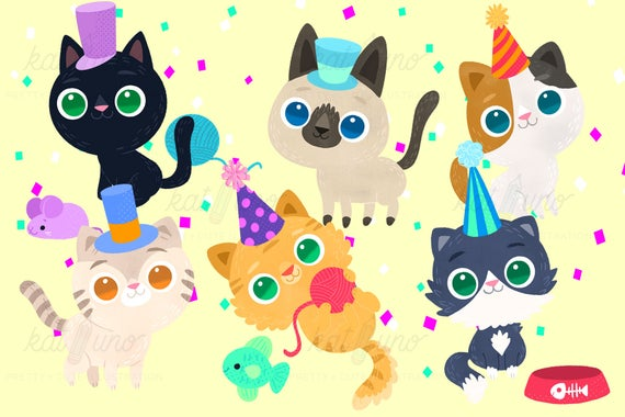 Cat Birthday Party Kitty Birthday Diy Printable Kitty Etsy Cat Birthday Party Cat Birthday Clip Art