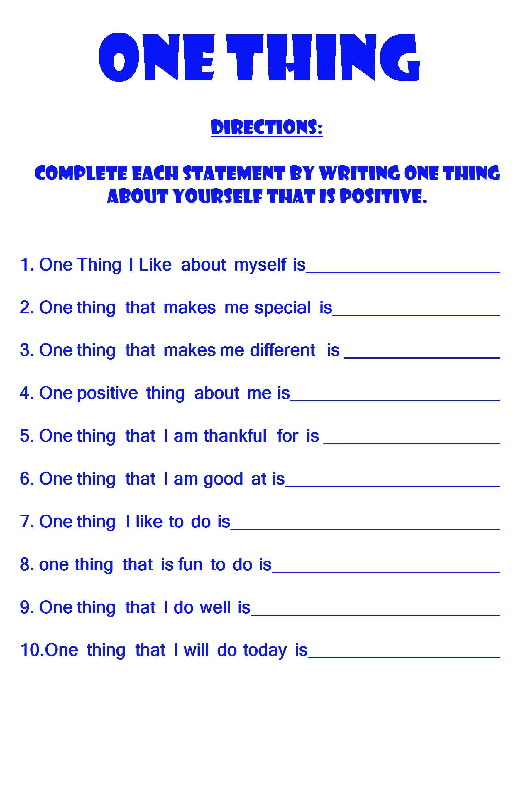 One Thing Positive Self Esteem Worksheet