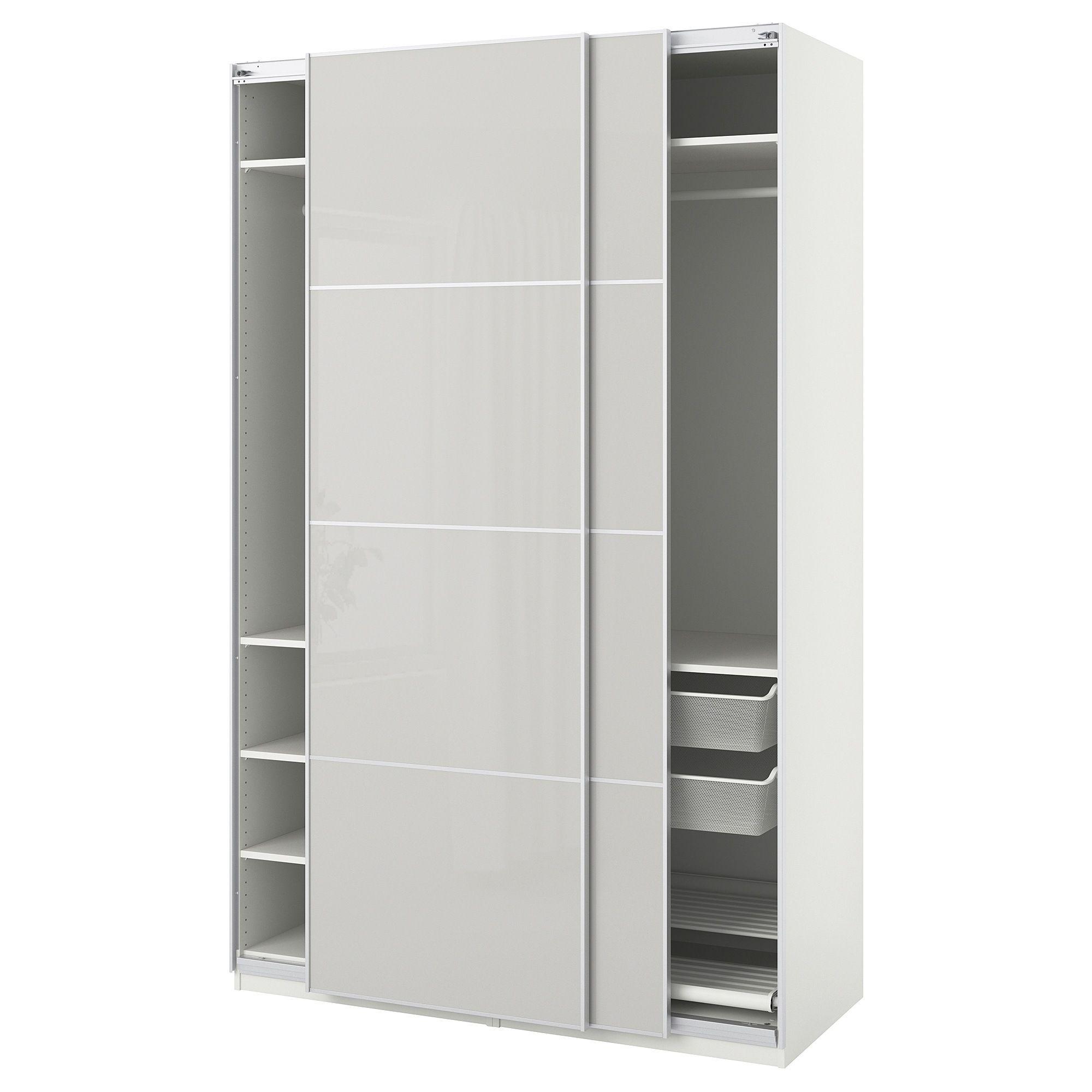 PAX Wardrobe white Hokksund, high gloss light gray