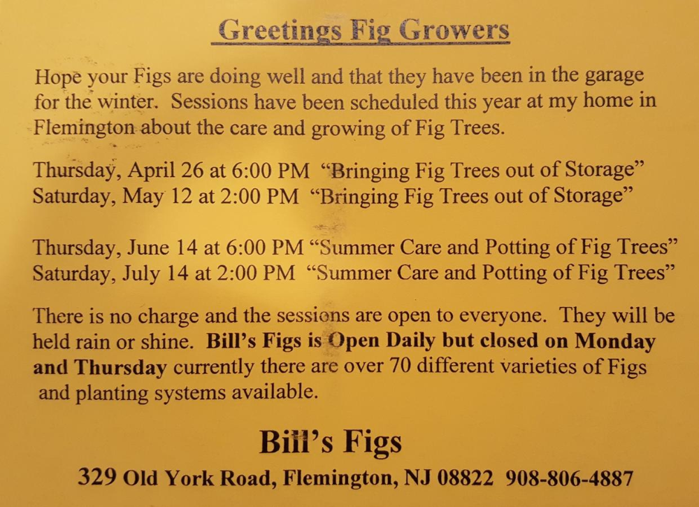Bill's Figs 2018 Spring/Summer Schedule #summerschedule Bill's Figs 2018 Spring/Summer Schedule #summerschedule