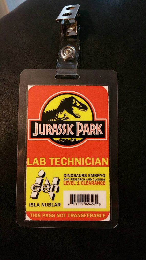 Jurrasic Park Lab Technician ID Badge By FanMadeBadges On Etsy