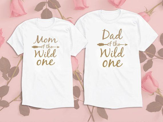 Mom Dad of the wild one. Gold Edition Set of 2 Shirts. Papa Shirt. Matching Shirts mommy Daddy shirts. Family Tees. UNISEX #papashirts